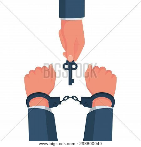 Break Free. Prisoner Release. Freedom Concept. Man In Handcuffs. Key Is In The Hands Of Freedom. Vec