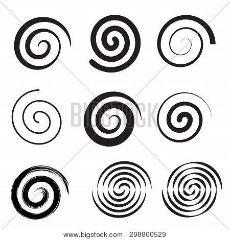 Spiral Collection. Set Of Simple Spirals. Set Of Black Elements For Design. Vector Illustration Flat