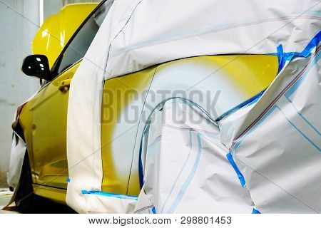 Car Body Work Auto Repair Paint After The Accident During The Spraying Automotive