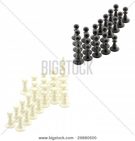 Competition strategy: opposite arrows made of pawns