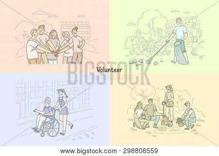 Volunteer Group, Social Workers Planting Trees, Cleaning Park Area, Caregivers Helping Senior People