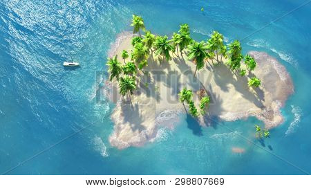 Sandy beach on a tropical island with coconut palms. A small sailboat by the shore.