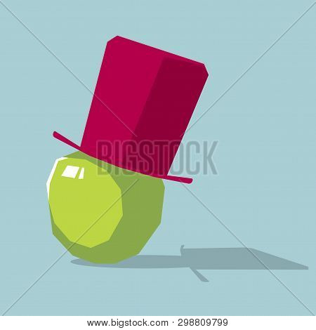 Topper on the a apple. Isolated on blue background. poster