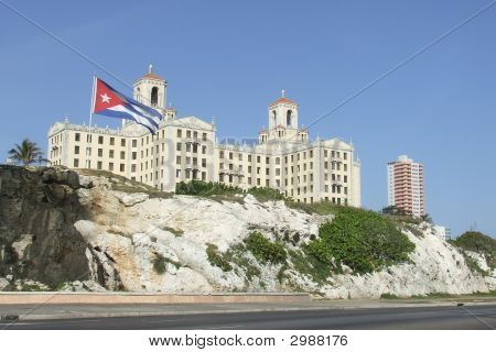National Hotel And Cuban Flag