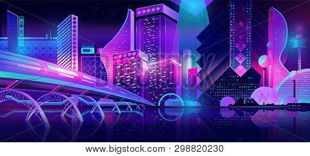 Future metropolis streets night skyline cartoon vector with illuminated blue and violet neon lights futuristic skyscrapers, bridge, subway railroad over city bay illustration. Sci-fi urban background poster