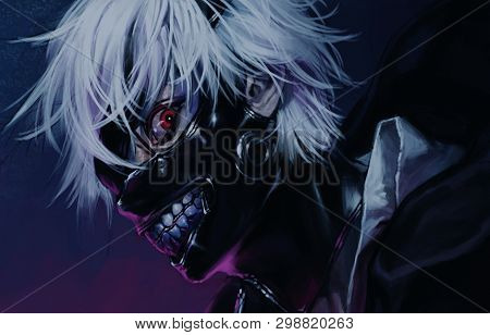 Anime Boy With White Hair And Mask On Face