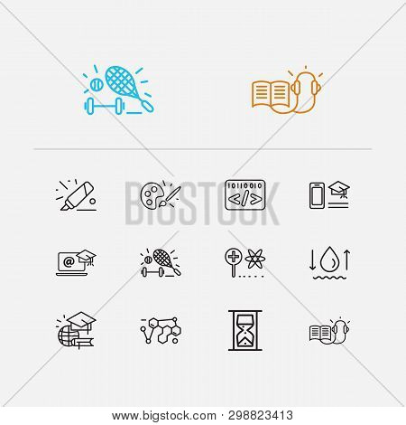 Distant Education Icons Set. Informatics And Distant Education Icons With Marker, Distance Leaning A