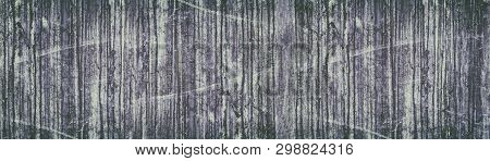 Wide Grunge Retro Background. Old Stained And Scratched Concrete Wall Panorama. Faded Vintage Textur