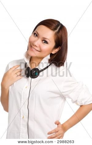 Woman Feeling Happy With Headphone Hanging On Her Neck