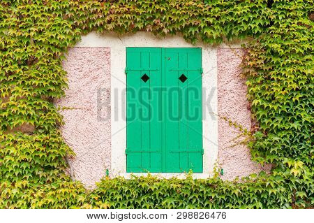Window With Closed Green Shutters Surrounded By Ivy On The Pink Claude Monet House In Giverny, Franc