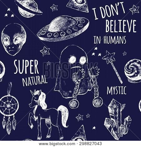 Seamless Black And White Pattern. Flying Saucer, Alien, Ghost, Unicorn, Dreamcatcher, A Crystal Ball