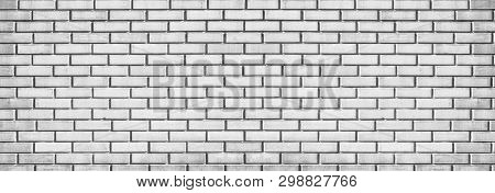 Wide Light Gray Brick Wall Texture. Whitewashed Panoramic Vintage Background