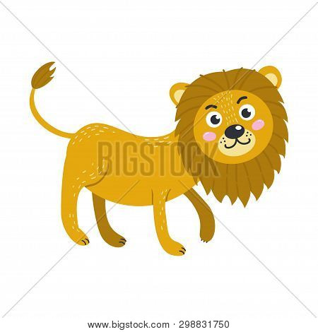 Vector Cute African Animal. Lion. Funny Character For Kids.