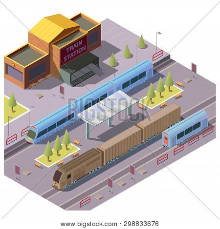 Modern Railway Station Isometric Vector With Passenger Train Stop For People Embarking And Disembark