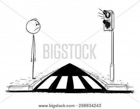 Cartoon Stick Figure Drawing Conceptual Illustration Of Man Waiting On Crosswalk Or Pedestrian Cross