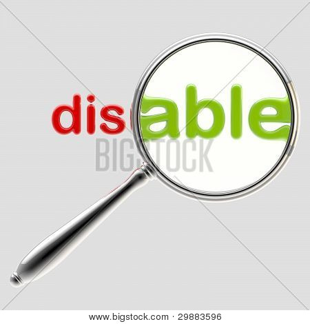 "Word ""disable"" under magnifier emblem isolated on grey poster"