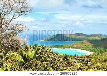 Beautiful View On Anse Lazio Tropical Beach From Morne Grand Fon
