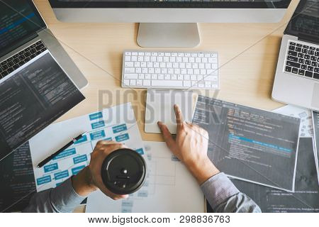 Professional Developer Programmer Working A Software Website Design And Coding Technology, Writing C