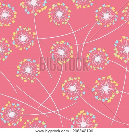 Cute dandelion blowing vector floral seamless pattern. Simple flowers with heart shaped fluff flying. Dandelion herbs meadow flowers floral pattern design. Meadow blossom with hearts fuzz. poster