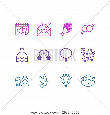 Vector Illustration Of 12 Marriage Icons Line Style. Editable Set Of Dove, Marriage Day, Posy And Ot