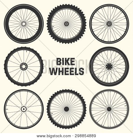 Bicycle Wheel Symbol Vector Illustration. Bike Rubber Mountain Tyre, Valve. Fitness Cycle, Mtb, Moun