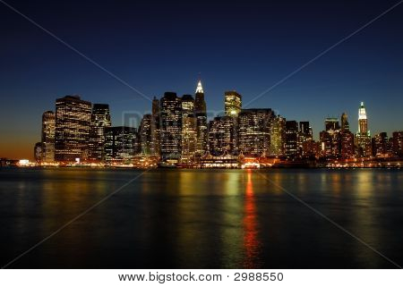 Manhattan skyline at Night New York City poster