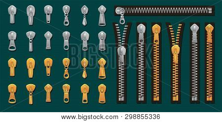 Golden And Silver Zippers And Fasteners Set. Vector Dye-to-match Zippers For Fashion Design, Prints