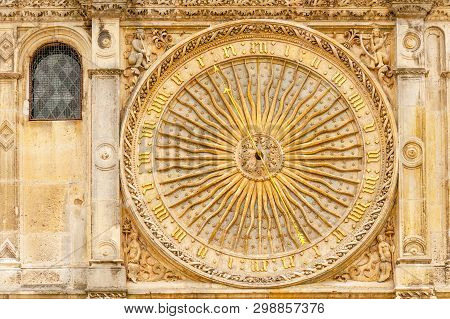 Ancient Astronomical Clock On The Facade Of Famous Chartres Cathedral, France
