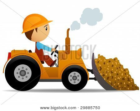 Cartoon Bulldozer At Construction Work
