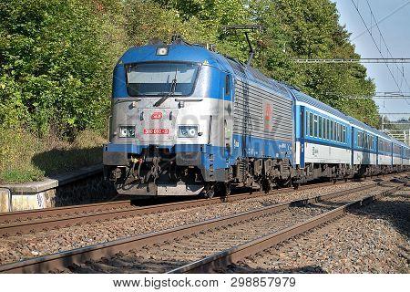Svitavy, Czech Republic - 20.4.2019: Passenger Train On The Route Ceska Trebova - Brno. Train Compan