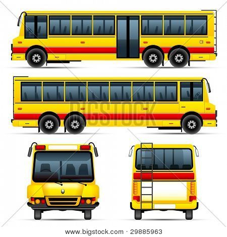illustration of set of school bus from different angle