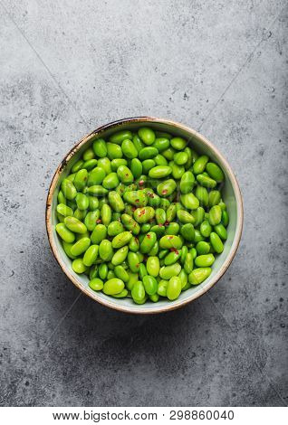 Fresh Ripe Green Edamame Beans Without Pods In Bowl On Gray Stone Background. Top View, Close Up. Li