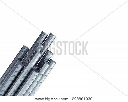 Reinforcement Steel Bar Steel Building Armature From Corner 3d Illustration