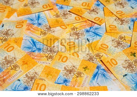 Collection of the new swiss 10 francs banknotes (issued in 2017)
