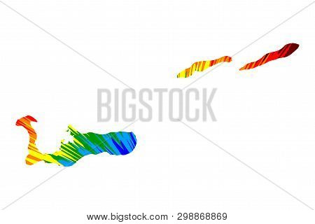 Cayman Islands - Map Is Designed Rainbow Abstract Colorful Pattern, Grand Cayman, Cayman Brac And Li
