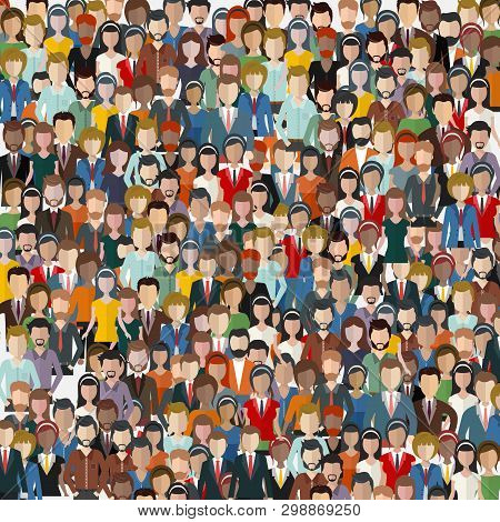 Large Group Of People. Seamless Background. Business People, Teamwork Concept. Flat Vector Illustrat