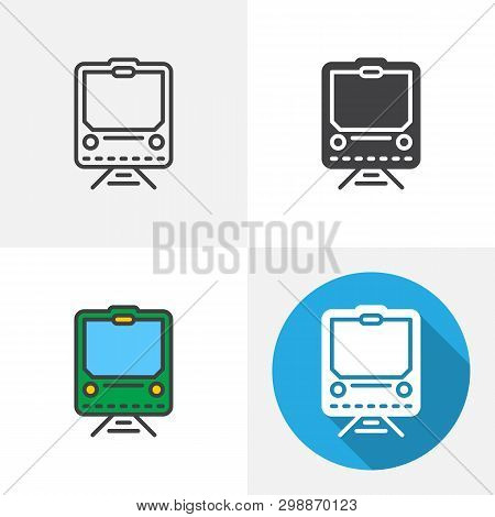 Railway Train Icon. Line, Glyph, Flat And Filled Outline Colorful Version, Public Transport Outline
