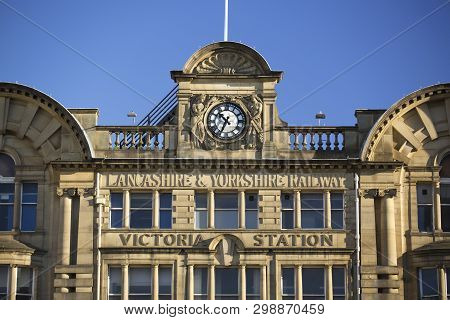 Manchester, Greater Manchester, Uk, October 2013,  Facade Of Manchester Victoria Train Station