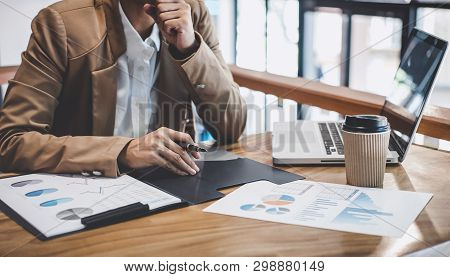 Entrepreneur Business Woman Typing On Laptop At Workplace, Women Working In Office With Using A Lapt