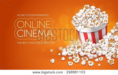 Popcorn In Paper Cup Bucket. Online Movies Banner Template, Poster Concept With Copyspace, Place For