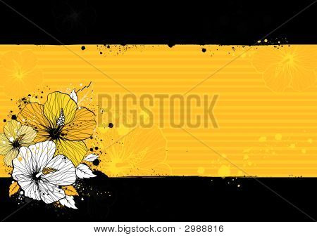 Bouquet Of Hibiscus On Grunge Background
