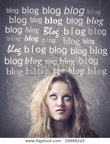 Beautiful woman with thoughtful expression and blog words above her head
