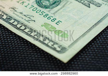 Closure Of Us Money Is Twenty Dollar Bills, Us Twenty Dollar Bill Fragment Of Macro.