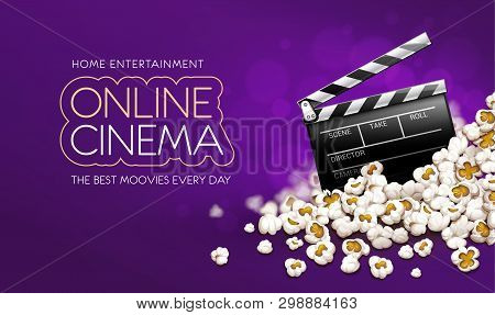 Cinematograpy Producer Clapperboard In Popcorn. Online Movies Banner Template Poster Concept, Copysp