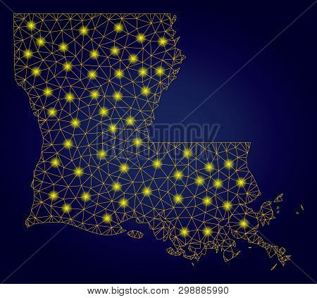 Yellow Mesh Vector Louisiana State Map With Glitter Effect On A Dark Blue Gradiented Background. Abs