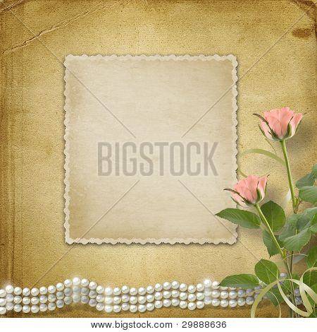 Vintage old postcard for congratulation with roses and pearls poster