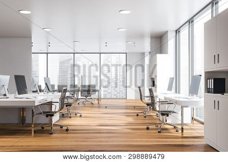 White Open Space Office Interior, Meeting Room