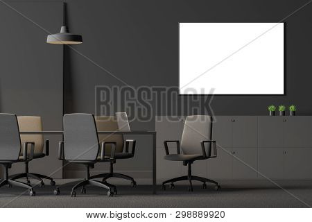 Gray Office Meeting Room With Poster