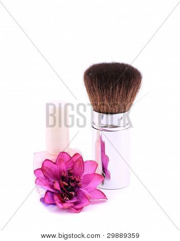 Clouse-up of makeup brush on white background