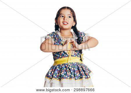 Brazilian Girl Wearing Typical Clothes For The Festa Junina - June Festival